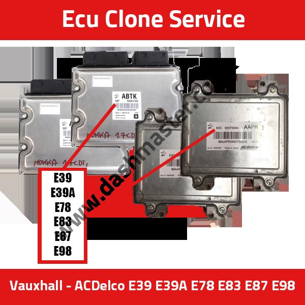 ECU CLONE SERVICE: Vauxhall/Chevrolet AC Delco E39 E39A E78 E83 E87 E98